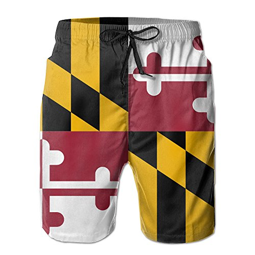 UNIQUE Pants Maryland State Flag Men's Quick Dry Beach Board Shorts Summer Swim Trunks for Father's Day for Boy Swimming (Maryland Swim Trunks)