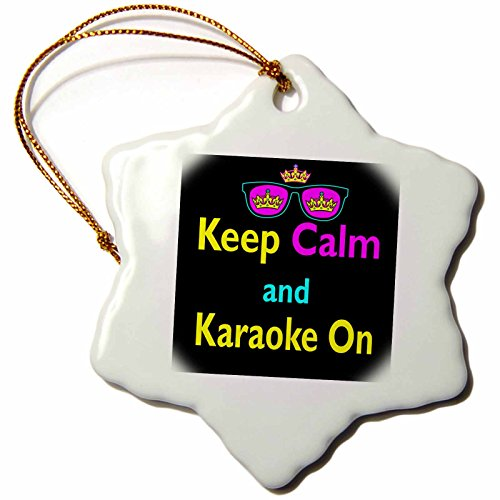 3dRose orn_116710_1 CMYK Keep Calm Parody Hipster Crown and Sunglasses Keep Calm and Karaoke On-Snowflake Ornament, Porcelain, - Sunglasses Karaoke