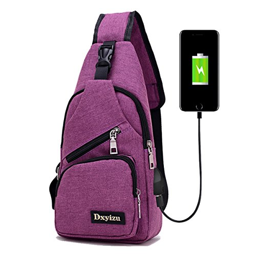 Purple Charging Men Port Niceeday Usb Earphone Hole Useful Daypack Travel And Light Chest With Sports Womens Multi Bag Shoulder pockets Weight Y10Bn0AR
