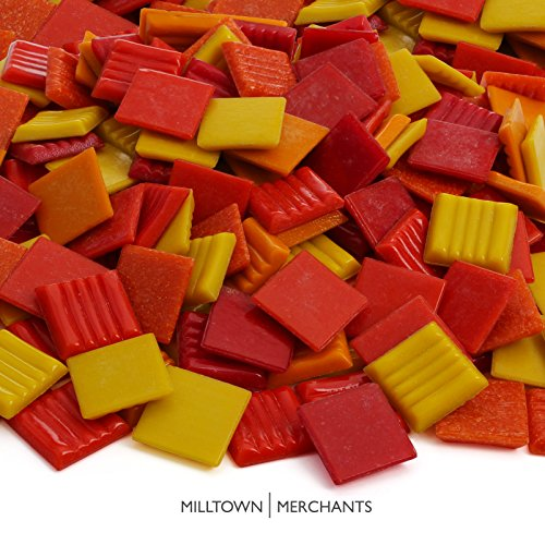 Milltown MerchantsTM Red and Orange Mosaic Tiles - Bulk Mosaic Tile Assortment - 3/4 Inch (20mm) Mixed Colors Venetian Glass Tile - 3 Pound (48 oz) Craft and Backsplash Tile