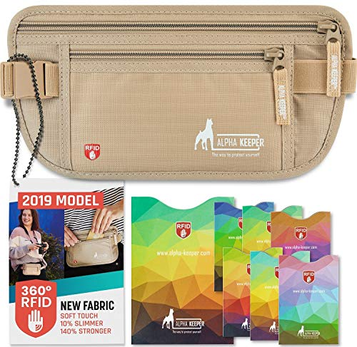RFID Money Belt for Travel with RFID Blocking Sleeves Set for Daily Use [2019 New Model]