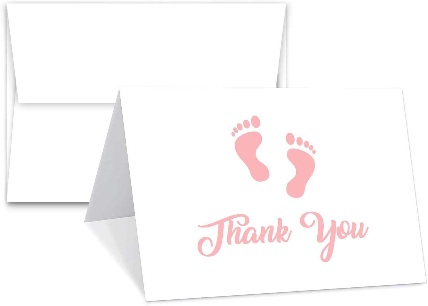 """Baby Girl Pink Footprint Thank You Cards With Envelopes - Blank on The Inside - Baby Shower Gifts 