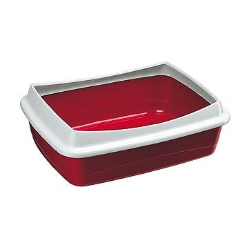 Feplast 72041099W1 Bandeja Sanitaria Abierta para Gatos Nip 10 Plus Caja de Arena para Gatos, Marco de Contención Extraíble, 47 x 36 x 15.5 Cm Burdeos: ...