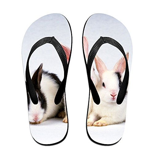 Couple Flip Flops Rabbits Easter Bunny Print Chic Sandals Slipper Rubber Non-Slip House Thong Slippers