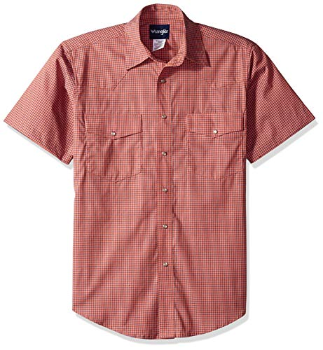 Wrangler Men's Wrinkle Resist Two Pocket Short Sleeve Snap Shirt, Orange/Blue, XXL