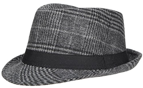 La Vogue Winter Adult Checkered Fedora Hat Woolen Trilby Hat Dark (Checkered Fedora Adult Hat)
