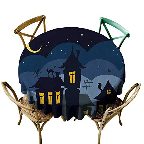 Jbgzzm Oil-Proof and Leak-Proof Tablecloth Halloween Old Town with Cat on The Roof Night Sky Moon and Stars Houses Cartoon Art Soft and Smooth Surface D63 Black Yellow Blue -