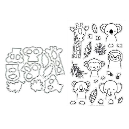 Animals Clear Stamps - ShapeW Animals Clear Stamps with Dies for Scrapbooking and Card Making DIY Photo Album Decor Cards (Clear Stamps+Dies Cutting)