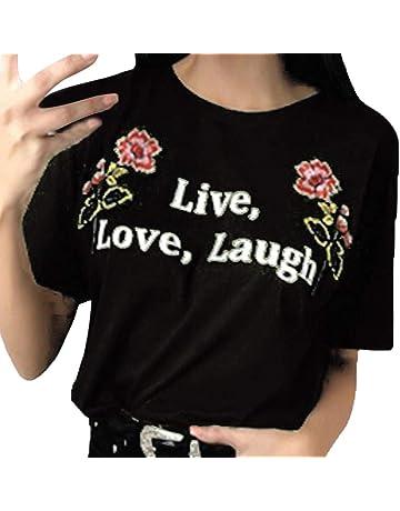 Top de Mujer,BBestseller Color sólido Cuello Redondo Imprimiendo Camisetas Personalizadas Blusas para Mujer Verano