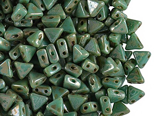 50pcs Kheops Par Puca Beads - Czech Pressed Glass Beads of Triangular Shape, with Two Holes, 6 mm, Opaque Green Turquoise Picasso