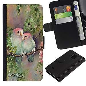 iKiki Tech / Cartera Funda Carcasa - Love Lovers Painting Nature Hand - Samsung Galaxy S5 Mini, SM-G800, NOT S5 REGULAR!