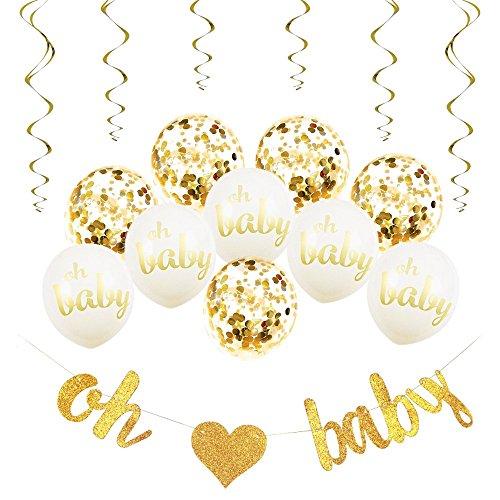 Fete Joy Baby Shower Decorations Neutral Decor Oh Baby Strung Banner, 10PC Balloon Set (Gold, Confetti, White), 6 Gold Spiral Swirls Glitter Unisex Pregnancy Announcement Gender Reveal Party