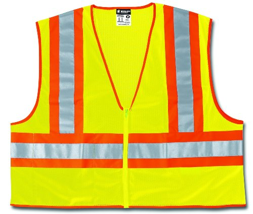 (MCR Safety WCCL2LFRXL Class 2 Polyester Mesh Flame Resistant Safety Vest with 3M Scotchlite Orange/Silver Reflective Stripe, Fluorescent Lime, X-Large)