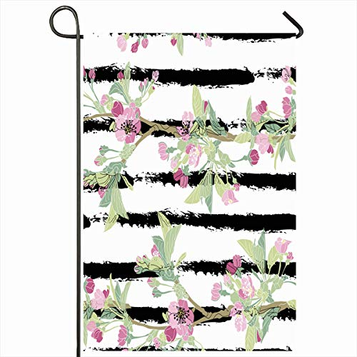 (Ahawoso Outdoor Garden Flag 12x18 Inches Cherry Manufacturing Pattern Abstract Flower Geometric Summer Asian Blossom Home Decor Seasonal Double Sides House Yard Sign Banner)