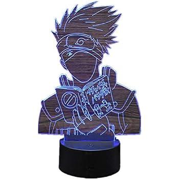 Anime Naruto Hatake Kakashi 3D Stereo Vision LED Night Light Home Office Decor Touch 7 Color Acrylic USB/Battery Bedside Lamp Creative Game Model Christmas ...