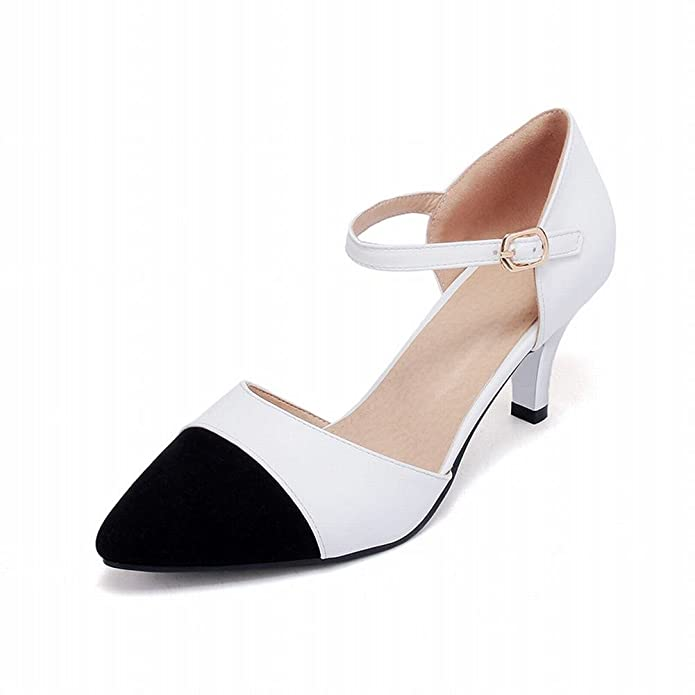 Carolbar Women's Stylish Contrast-stitching High Heel Stiletto Buckle Court  Shoes: Amazon.co.uk: Shoes & Bags