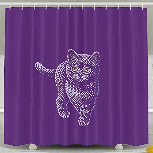 Cats Bath Accessories Country (Shower Curtains, Bathroom Accessories, Baby Girl Extra Long Farmhouse Country Heavy Duty Large Bath Shower Curtain Set With Rings For Men Women Kids,Cat Purple)