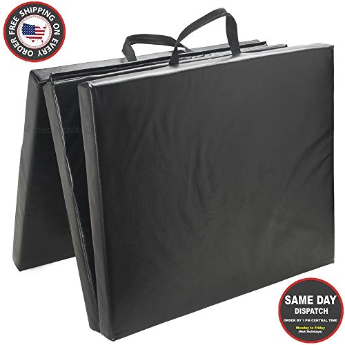 New Folding Panel Gymnastics Mat Gym Exercise Yoga Tri Mat Pad Black Exercise Mats US Seller Shipping from USA