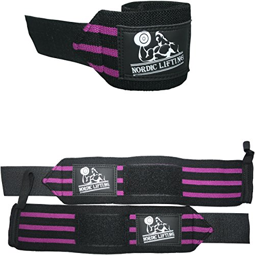 Nordic Lifting Unisex Wrist Wraps for Weightlifting, 1 Pairs/2 Wraps, Purple