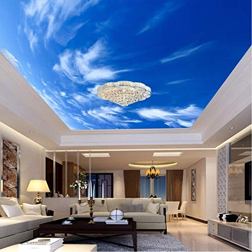 - xbwy 3D Wallpaper Customized Mural Non Woven Hd Blue Sky White Clouds Roof Ceiling Decoration 3D Wall Room Murals Wall Paper for Wall-150X120Cm