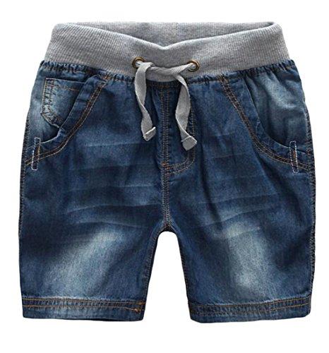 Etecredpow Boys Washed Soft Comfy Drawstring Cotton Elastic Waist Denim Shorts Dark Blue 3T