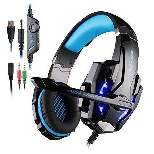 gaming 헤드 세트 KOTION EACH G9000 3.5mm스테레오 헤드폰 pc용 헤드 세트 라이트부 프레스 데이 숀4 PS4 아이폰 PC 스마트 폰 대응 블랙&블루
