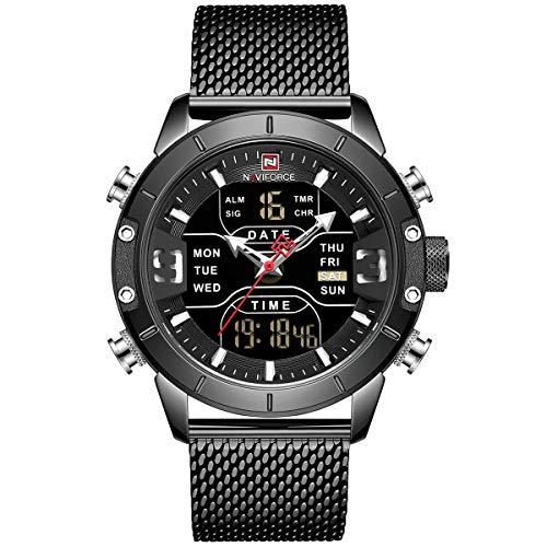 Men's Watch Waterproof Naviforce Analog LED Digital Watch Black Mesh Stainless Steel Quartz Clock Man ()