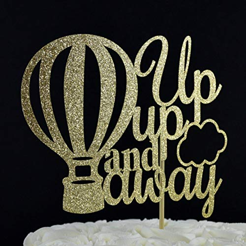 Up up and away Gold Glitter Paper Cake Topper with Hot Air Balloon Accent