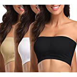 MissTalk Womens Padded Bandeau Bra Strapless Bra Tube Bra Active Base Layer Bandeau Tube Top(XL)