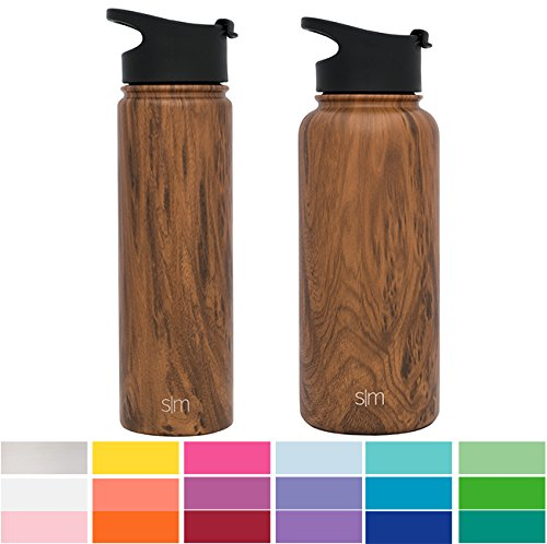 7d5d72dd2e Simple Modern 22 oz Summit Water Bottle - Stainless Steel Hydro Swell Flask  +2 Lids - Wide Mouth Double Wall Vacuum Insulated Reusable Small Kids Coffee  ...