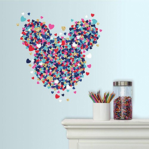 RoomMates Minnie Mouse Heart Confetti Peel And Stick Giant Wall Decals With Glitter