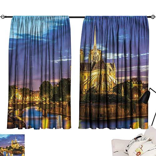 - Jinguizi Drapes/Draperies Darkening Curtains Paris,Notre Dame Cathedral at Dusk,2 Panel Curtain for Kids Room W108 x L72