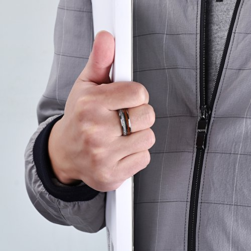 King Will 8mm Mens Wedding Band Tungsten Carbide Ring Imitated Meteorite Koa Wood Inlay Comfort Fit 9.5