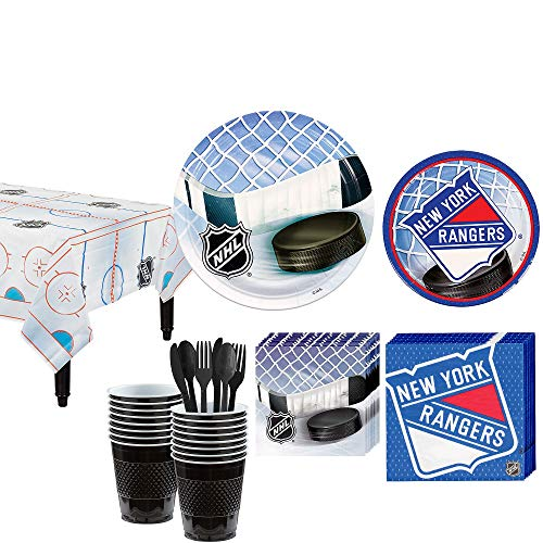 Party City New York Rangers Party Kit for 16 Guests, Includes Table Cover, Plates, Napkins and More