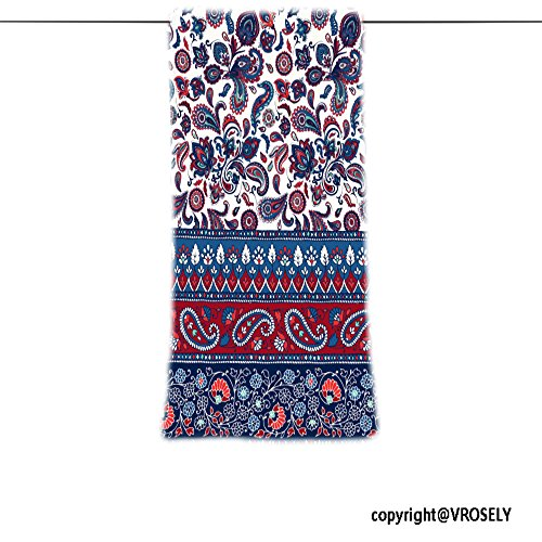 VROSELV Custom Towel Soft and Comfortable Beach Towel-striped seamless pattern floral wallpaper colorful ornamental border Design Hand Towel Bath Towels For Home Outdoor Travel Use 13.8
