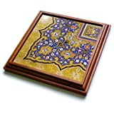 3dRose trv_162530_1 Arabian Floral Pattern Persian Style Flowers and Swirls. Arab Islamic Turkish Trivet with Ceramic Tile, 8 by 8'', Brown