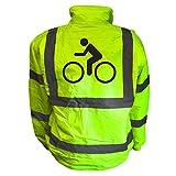 Cyclist Image Hi Viz Vis Bomber Jacket Cycle Bike Reflective Coat Safety Road Safety Visibility Yellow 8