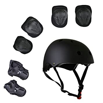 8f496b91be65f Lucky-M Kids 7 Pieces Outdoor Sports Protective Gear Set Boys Girls Cycling  Adjustable Helmet Safety Pads Set [Knee&Elbow Pads and Wrist Guards] for ...