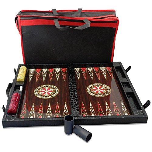 (shayniyenigun Black Leather Backgammon Set with Travel Attache Case, 19-Inch)