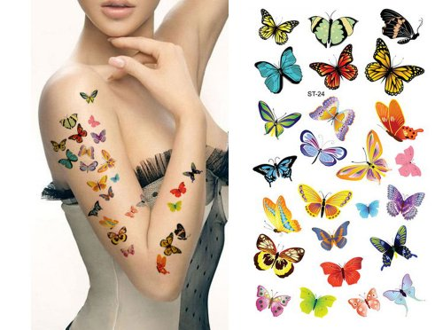 Supperb Mix Butterflies Butterfly Temporary Tattoos (Lots of - Tattoos Butterfly Flower