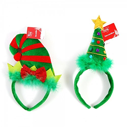 Decorative Christmas Tree and Elf Holiday Party Headband Accessories, Set of 2