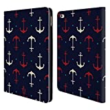 Head Case Designs Red And White Anchors Marine Patterns Leather Book Wallet Case Cover for Apple iPad Air 2