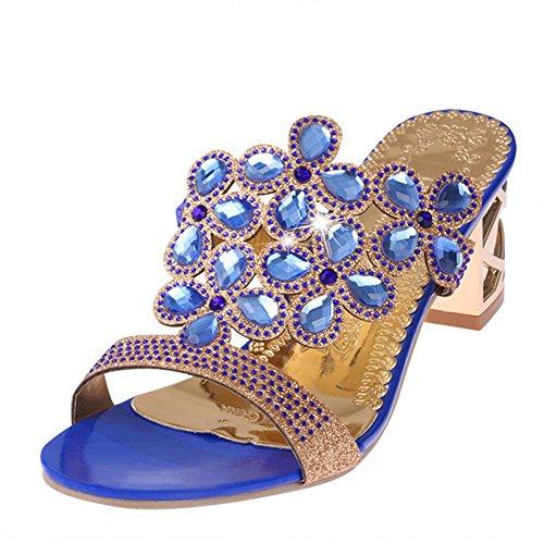 Heart&M de las mujeres de moda Lover recortes del alto talón de partido / playa sandalias de los deslizadores Royal Blue