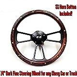 """New World Motoring Wood Steering Wheel w/ Black """"SS"""" Horn for Chevelle, Camaro, Nova + Adapter"""