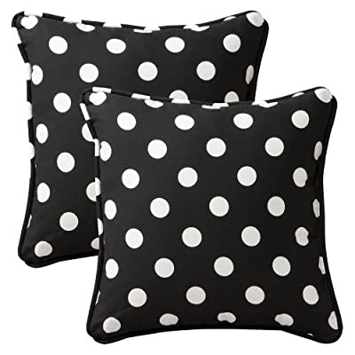 Pillow Perfect Decorative Polka Dot Toss Pillow, Square, Black/White - Includes two (2) outdoor pillows, resists weather and fading in sunlight; Suitable for indoor and outdoor use Plush Fill - 100-percent polyester fiber filling Edges of outdoor pillows are trimmed with matching fabric and cord to sit perfectly on your outdoor patio furniture - living-room-soft-furnishings, living-room, decorative-pillows - 51giRf9GCmL. SS400  -