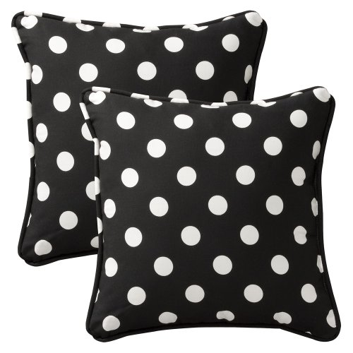 Pillow Perfect Decorative Black/White Polka Dot Toss Pill...