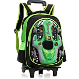 Goooodrry 3D Car Boys Climbing Stairs Trolley Schoolbag Ultralight Waterproof School Backpack Removable Rolling Backpack Outdoor 6-12Years Old (Color : B, Size : -)