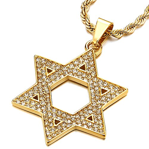COOLSTEELANDBEYOND Mens Women Large Gold Color Star-of-David Pendant Necklace with Cubic Zirconia, Stainless Steel ()