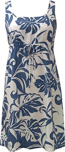 Hawaiian Print Shorts (RJC Women's Beachside Breeze Short Hawaiian Empire Drawstring Tank Dress Blue Medium)