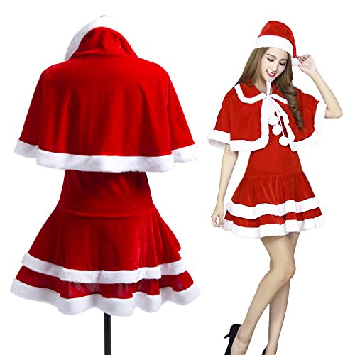 Cute Christmas Santa Costumes (Women Santa Costume Christmas Costume, Adult Cute Santa Dress Suit)